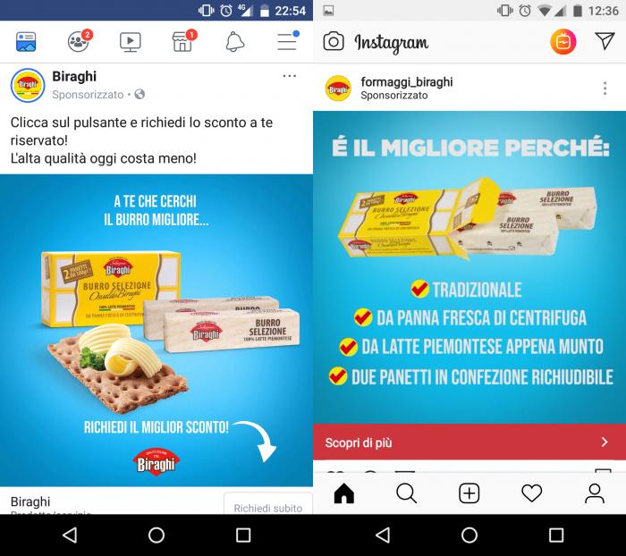 Una pubblicità Facebook e Instagram sponsorizzata da Biraghi, con protagonista il suo burro