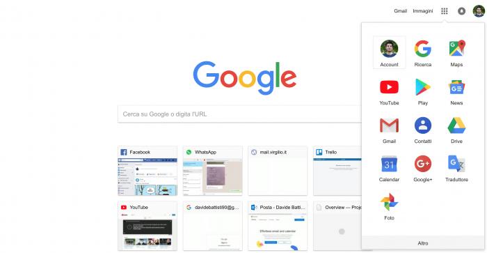 Screenshot della schermata base di Google Chrome