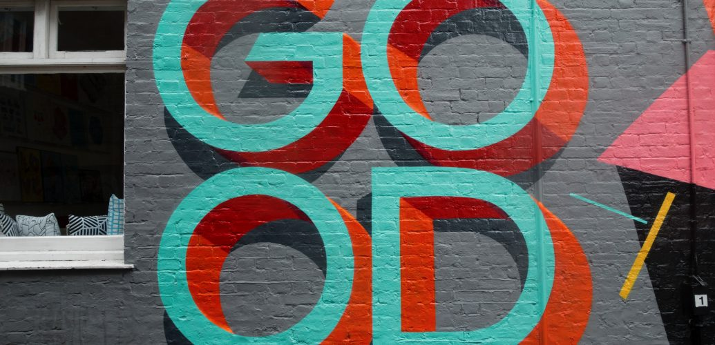 un murales sul feeling good / stare bene
