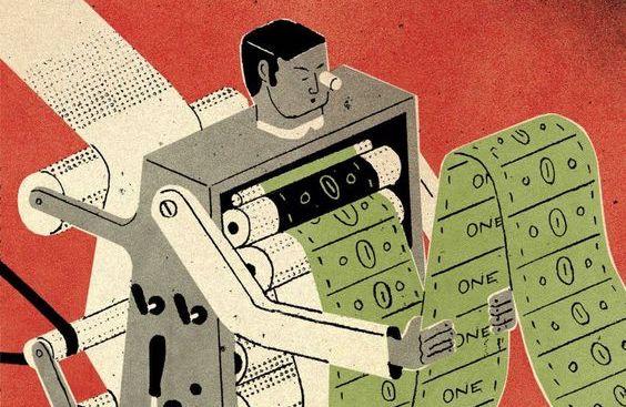 Un uomo macchina confronta dati economici