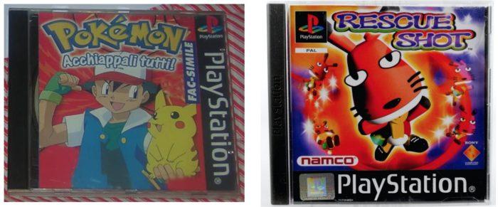 La copertina del finto gioco Pokemon per Playstation contro quella del gioco che nascondeva, Rescue Shot