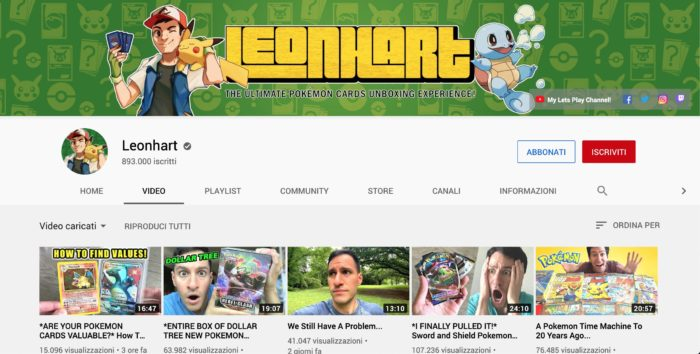 Uno screenshot del canale YouTube Leonhart, famoso unboxer di carte Pokemon