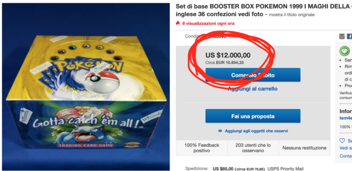Un Box del Set Base Pokemon in vendita su eBay a 12.000€