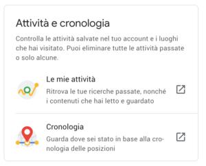 Screenshot del box Attività e Cronologia sull'account Google