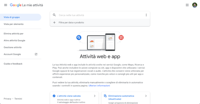Screenshot della pagina Attività Web e App all'interno del profilo Google